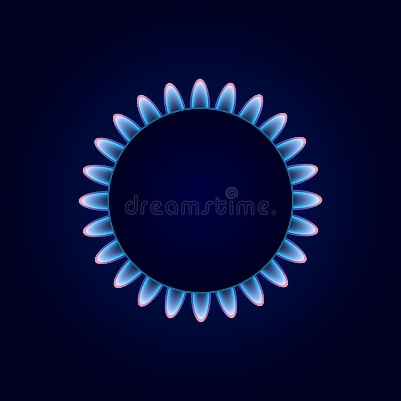 Cânfora do gás na obscuridade - fundo azul ilustração stock