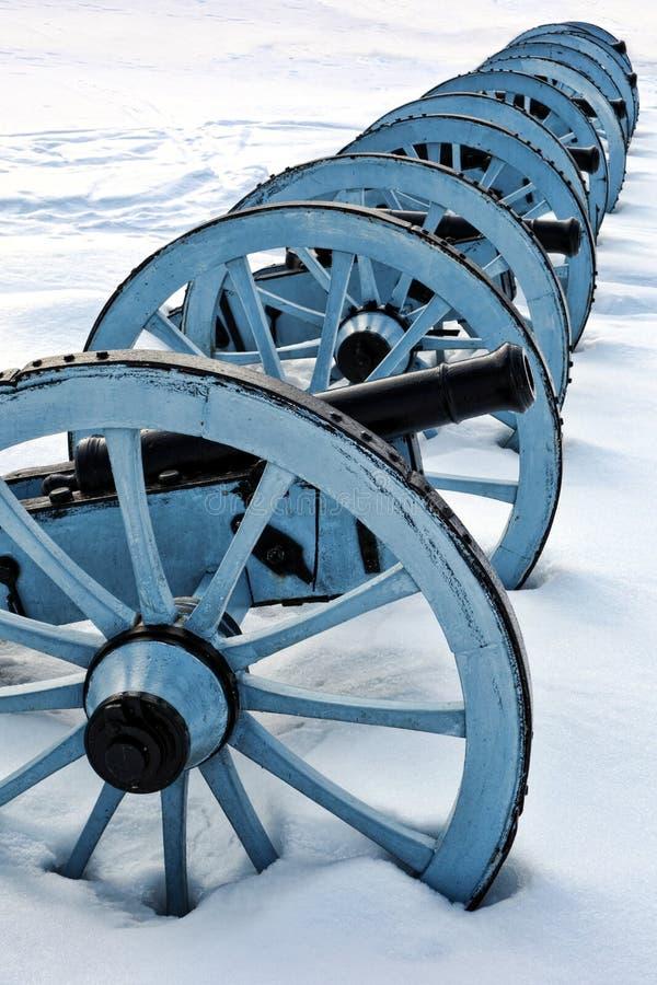Cânones da guerra da artilharia no parque nacional da forja do vale imagem de stock