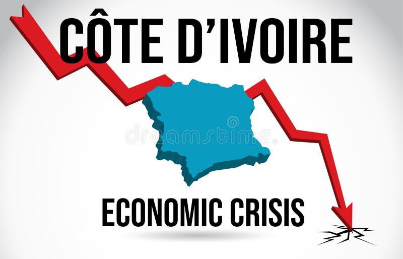 Côte d'Ivoire Map Financial Crisis Economic Collapse Market Crash Global Meltdown Vector. Illustration stock illustration