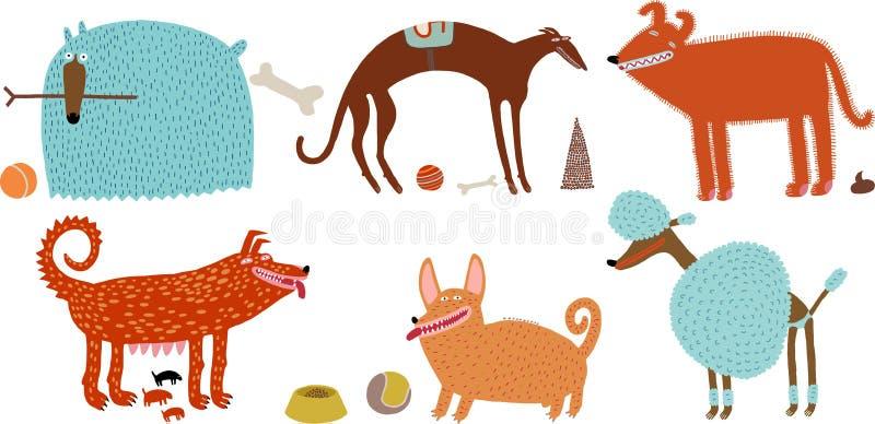 cães Alaranjado-azuis ajustados ilustração stock