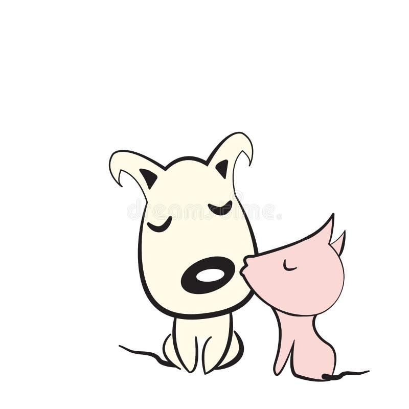Cães aproximadamente a beijar ilustração royalty free