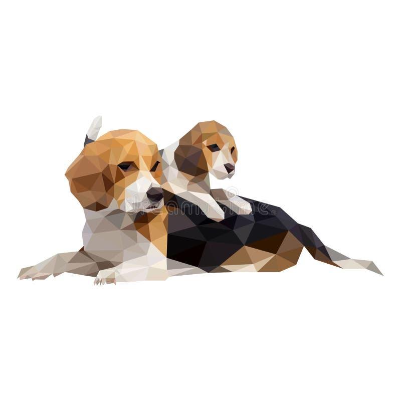 Cães, arte poligonal ilustração stock