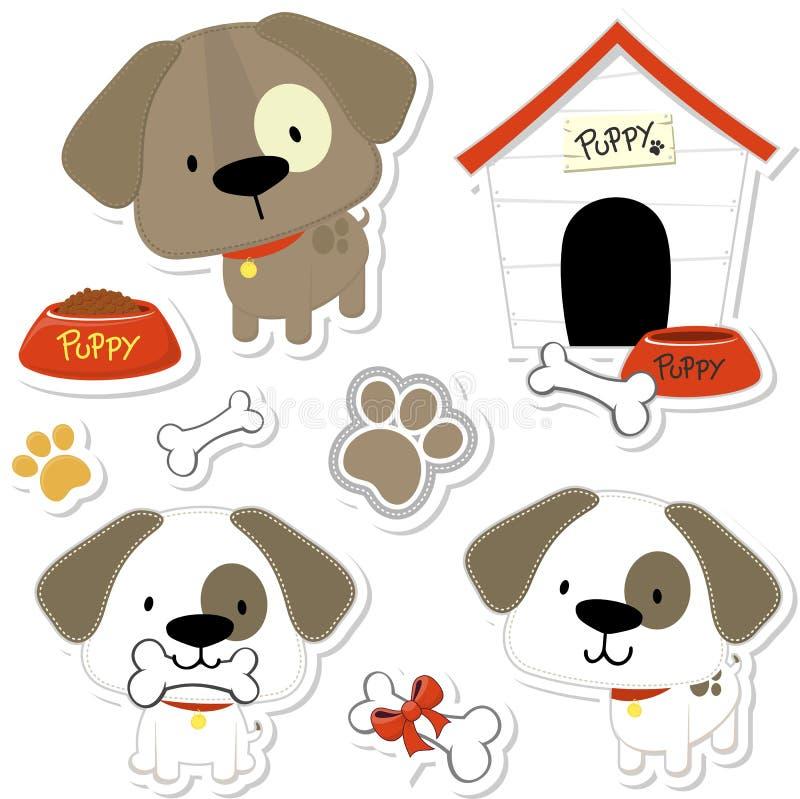 cães bonitos do bebê e elementos do cachorrinho ilustração royalty free