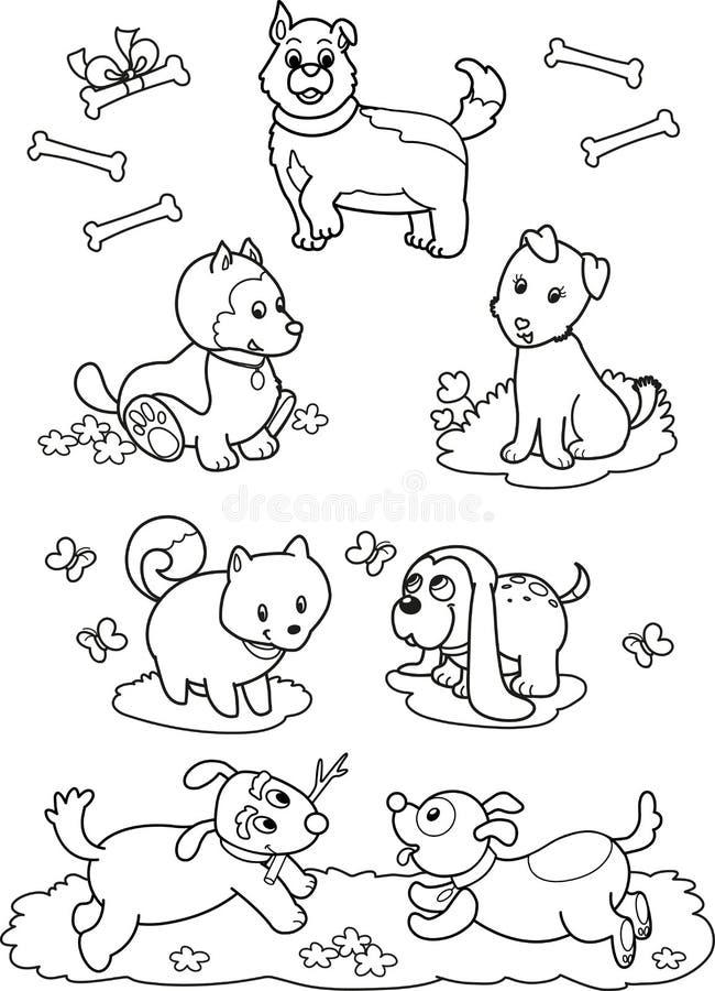 Cães bonitos dos desenhos animados: página da coloração imagens de stock royalty free