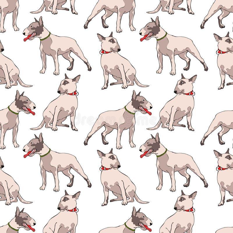 cães Bull terrier Fundo sem emenda do teste padrão do vetor foto de stock