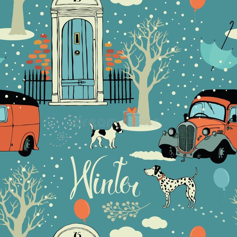 Cães, carros do vintage, neve e árvores do inverno. Seamles