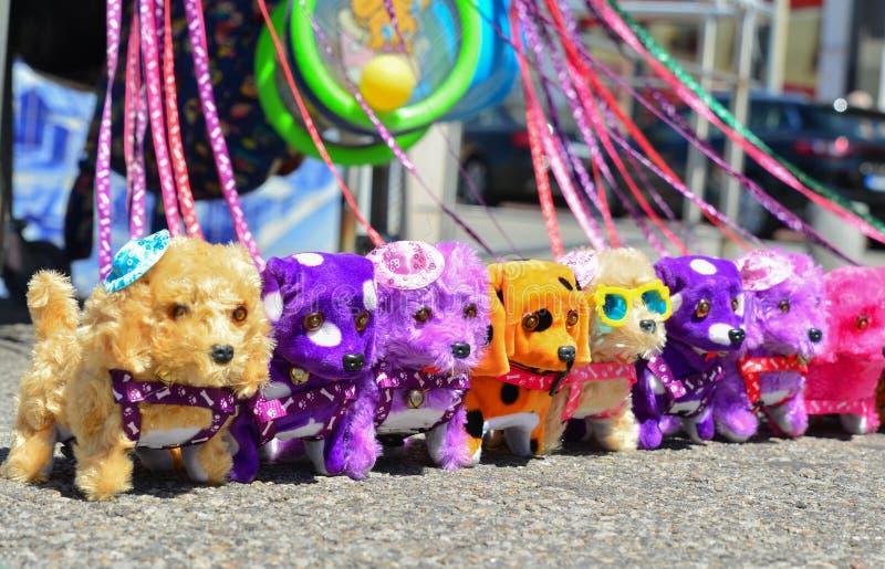 Cães coloridos luxuoso no mercado imagem de stock