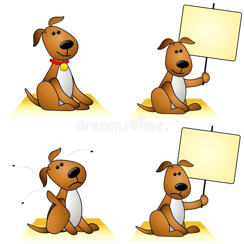 Cães com pulga e sinais ilustração stock