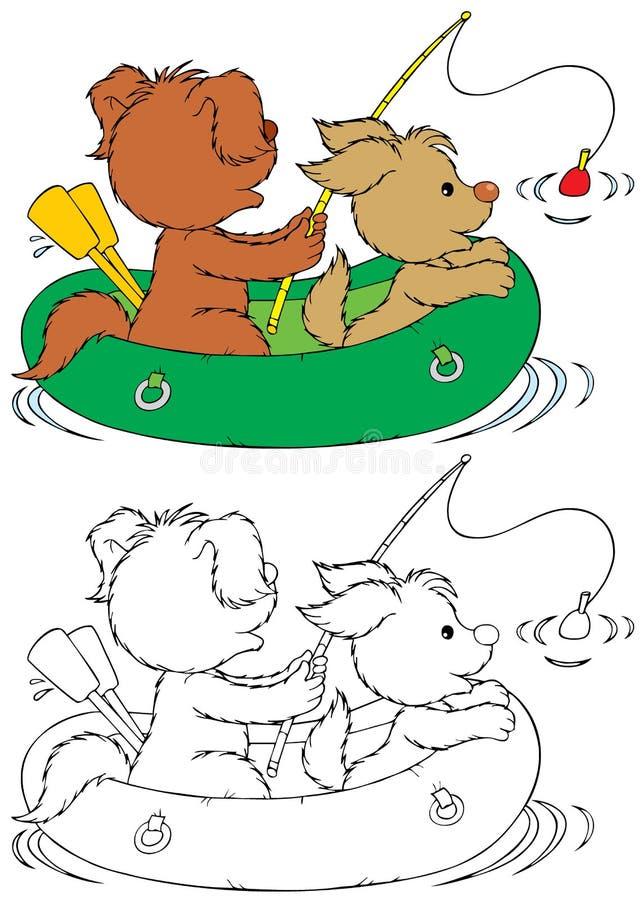 Cães da pesca ilustração royalty free