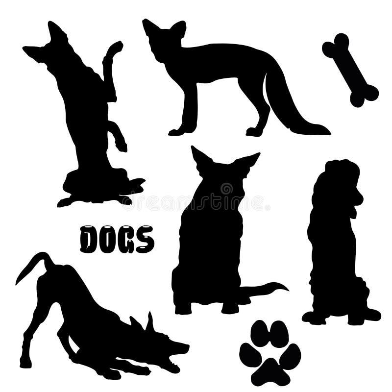 Cães de estimação, silhueta preta - coleção do vetor ilustração stock