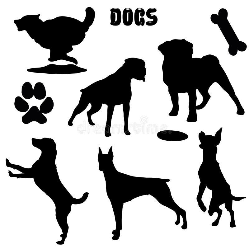 Cães de estimação, silhueta preta - coleção do vetor ilustração royalty free