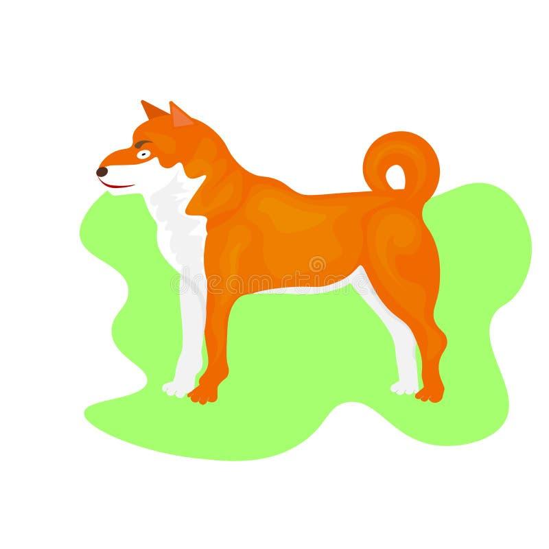 Cães de puxar trenós da Web no suporte no fundo branco ?cone do c?o ou elemento do logotipo Ilustra??o do vetor no estilo liso Cã ilustração do vetor