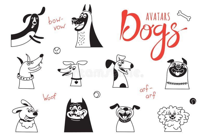 Cães do Avatar O regaço-cão engraçado, o pug feliz, os híbridos alegres e outro produzem ilustração do vetor