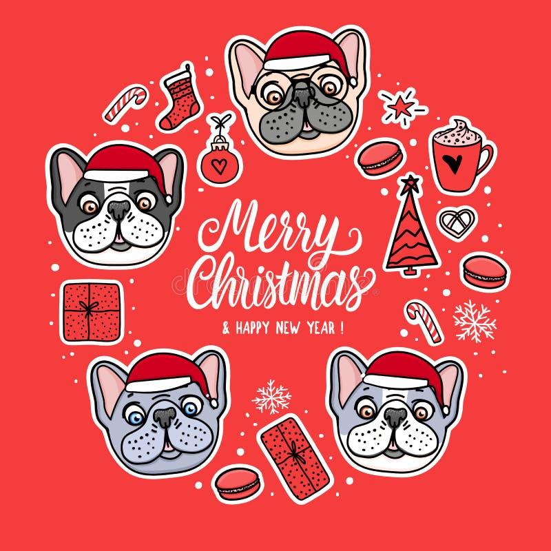 Cães do cartão em chapéus do Feliz Natal Quadro com rotulação Projeto do feriado da ilustração do vetor Etiquetas tiradas mão do  ilustração do vetor
