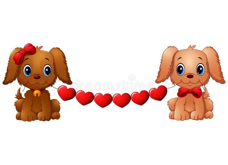 Cães do Valentim dos pares com coração vermelho ilustração do vetor