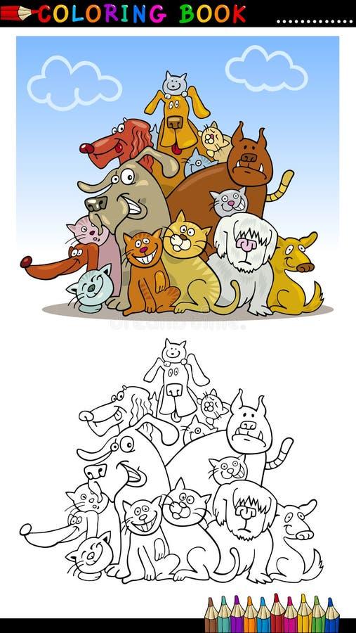 Cães dos desenhos animados para o livro ou a página de coloração ilustração stock