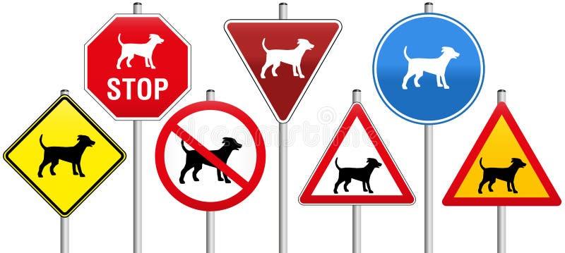 Cães dos sinais de estrada ilustração stock