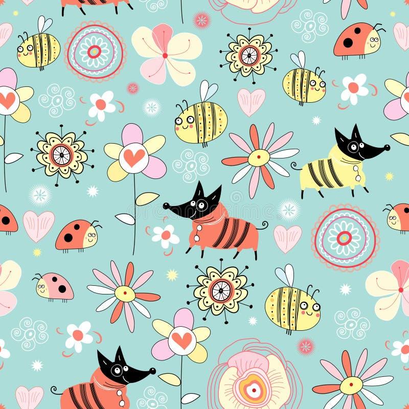 Cães e abelhas da textura nas flores ilustração stock