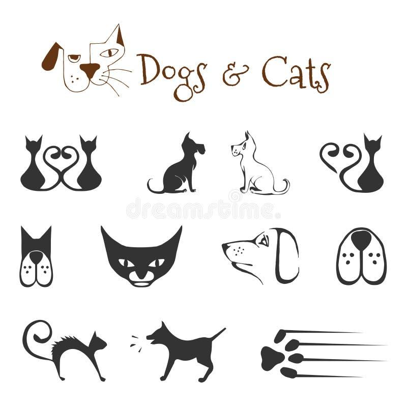 Cães e gato ilustração do vetor