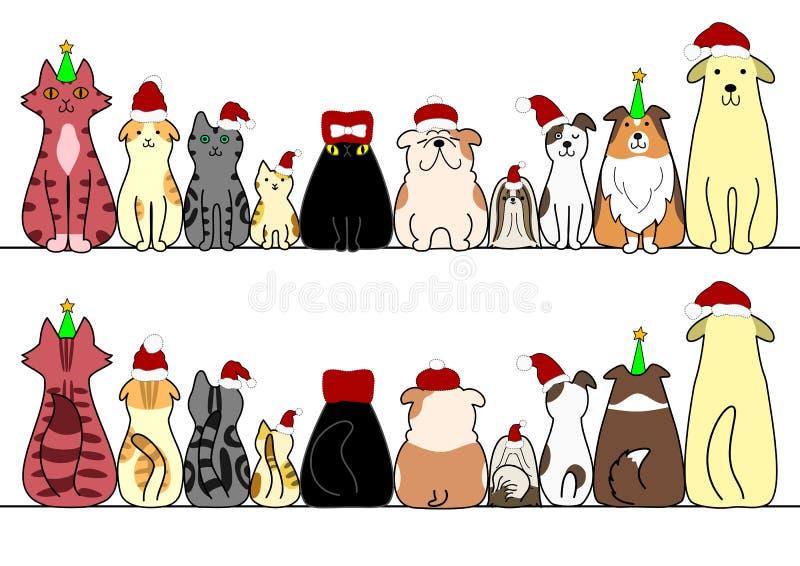 Cães e gato em seguido com espaço, parte dianteira e parte traseira da cópia ilustração do vetor