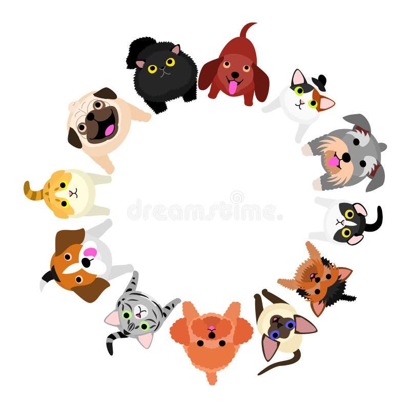 Cães e gato pequenos de assento que olham acima o círculo ilustração royalty free