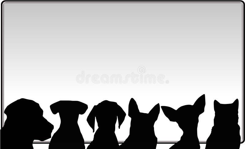 Cães e messageboard ilustração royalty free