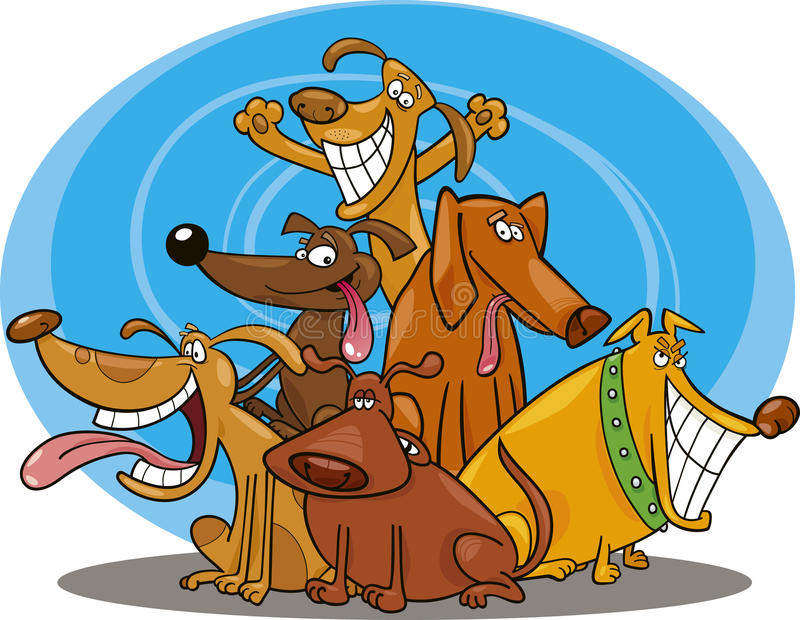 Cães engraçados ilustração royalty free