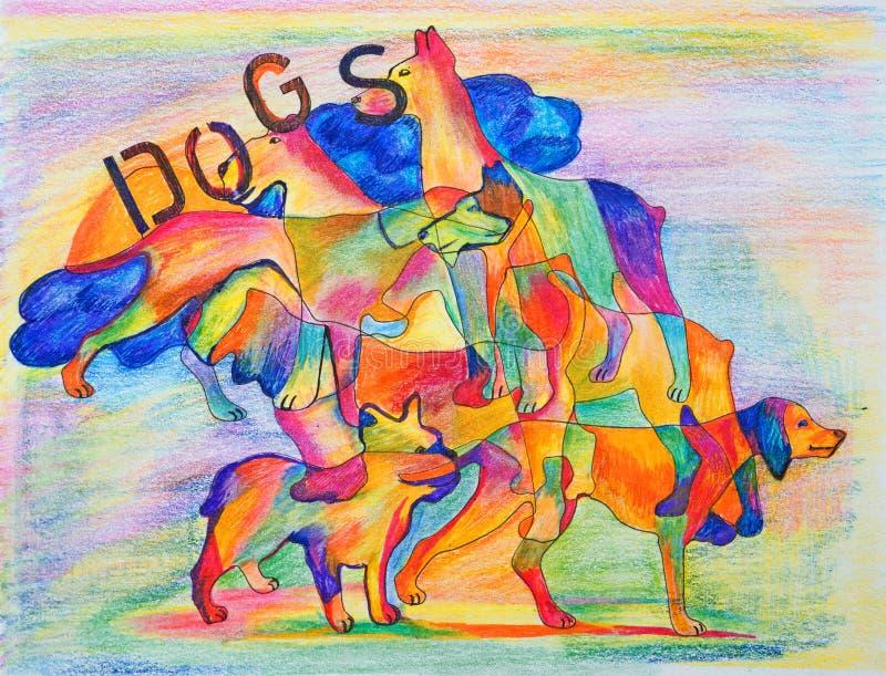 Cães heterogêneos em um fundo heterogêneo ilustração do vetor
