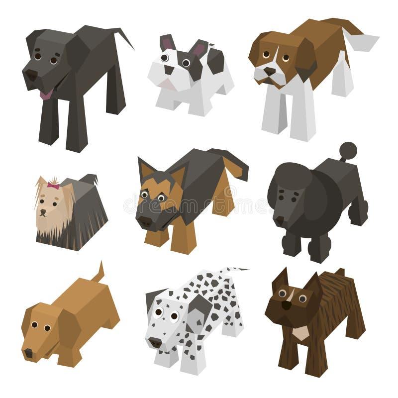 Cães isométricos da raça diferente do vetor ilustração stock