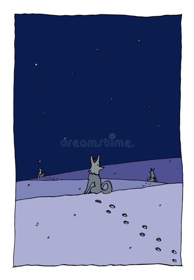 Cães na noite do inverno ilustração do vetor