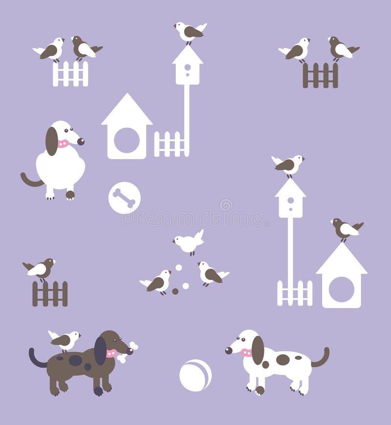 Cães, pássaros com bolas, cercas e canis ilustração do vetor