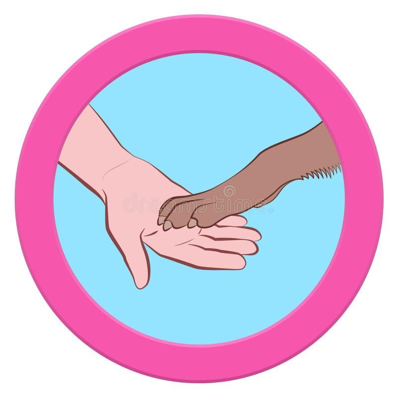 Cães Paw Human Hand Give Paws Logo Round Symbol ilustração stock
