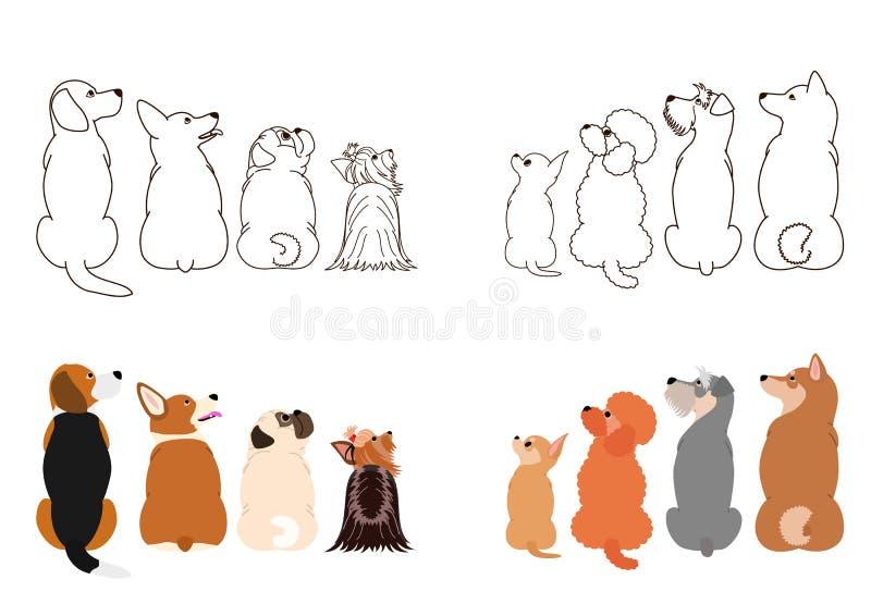Cães pequenos que olham acima lateralmente em duas fileiras ilustração stock