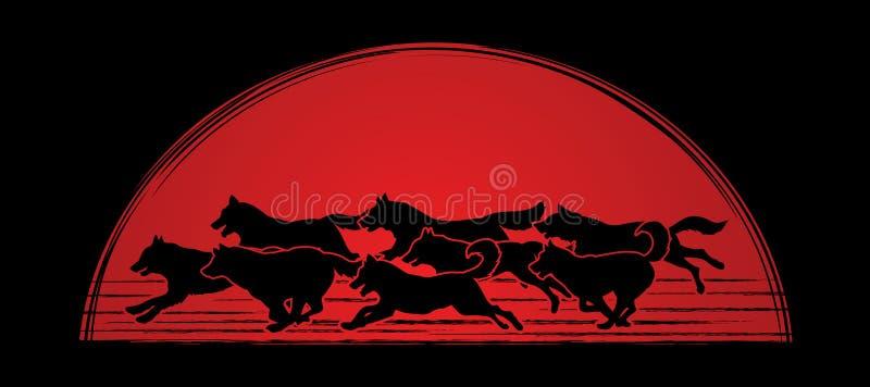 8 cães que correm o gráfico ilustração stock