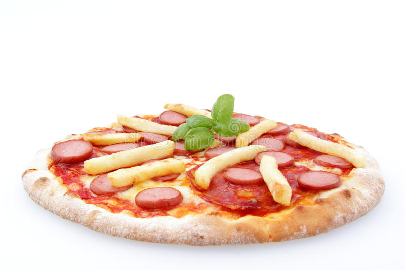 Cães quentes da pizza e fritadas do francês fotos de stock