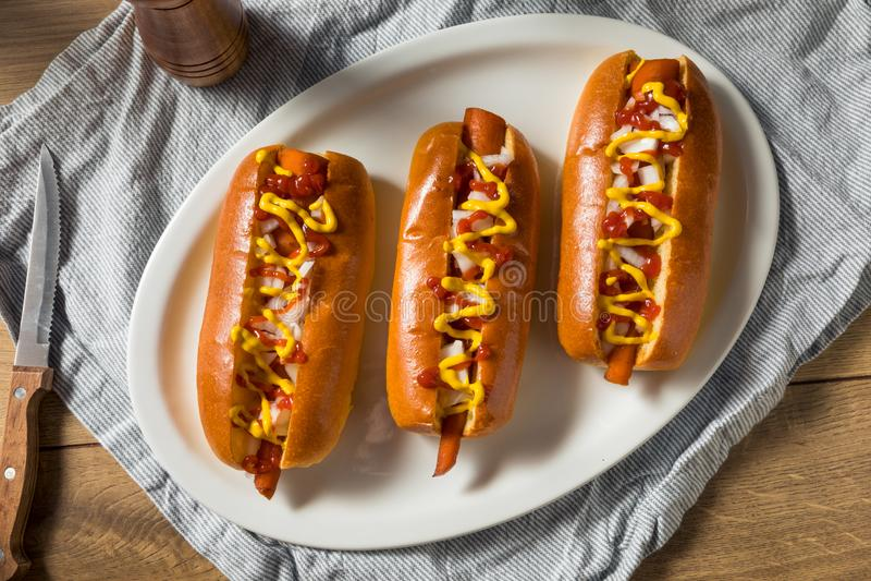 Cães Quentes de Vegan Homemade fotos de stock royalty free