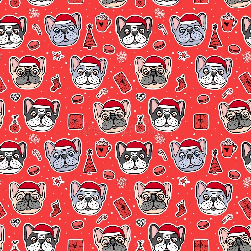 Cães sem emenda do teste padrão em chapéus de Santa do Natal Mão do buldogue francês tirada no vermelho Estilo acolhedor quente d ilustração do vetor