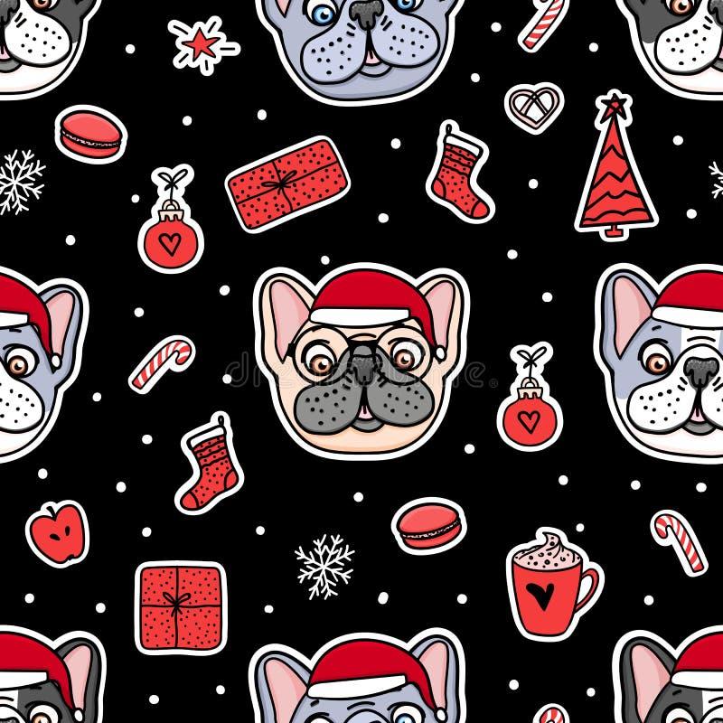 Cães sem emenda do teste padrão em chapéus de Santa do Natal Projeto do feriado da ilustração do vetor Etiquetas tiradas mão do b ilustração royalty free