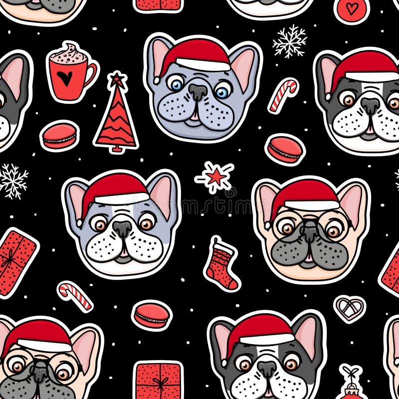 Cães sem emenda do teste padrão em chapéus de Santa do Natal Projeto do feriado da ilustração do vetor Mão francesa e americana d ilustração royalty free