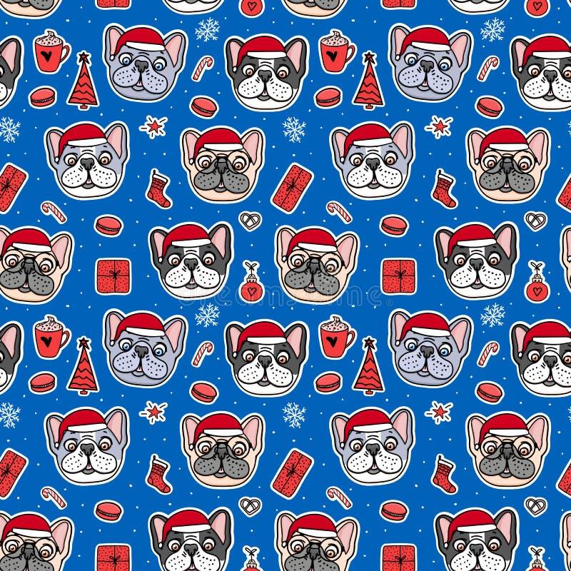 Cães sem emenda do teste padrão em chapéus vermelhos de Santa do Natal Os buldogues franceses entregam caráteres tirados Projeto  ilustração royalty free