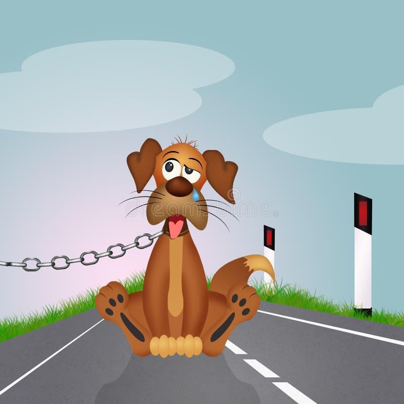Cão abandonado na borda da estrada ilustração stock