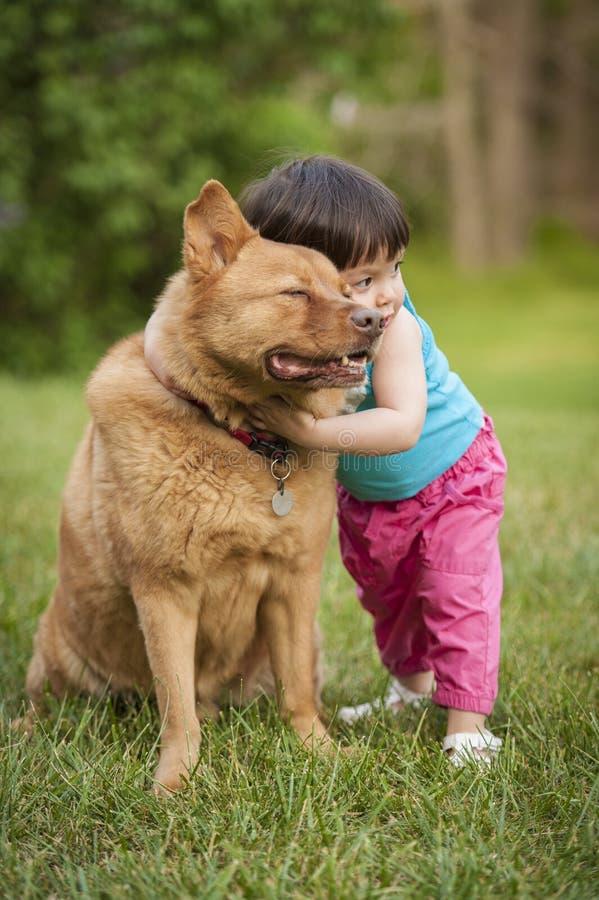 Cão abraçado pela criança foto de stock