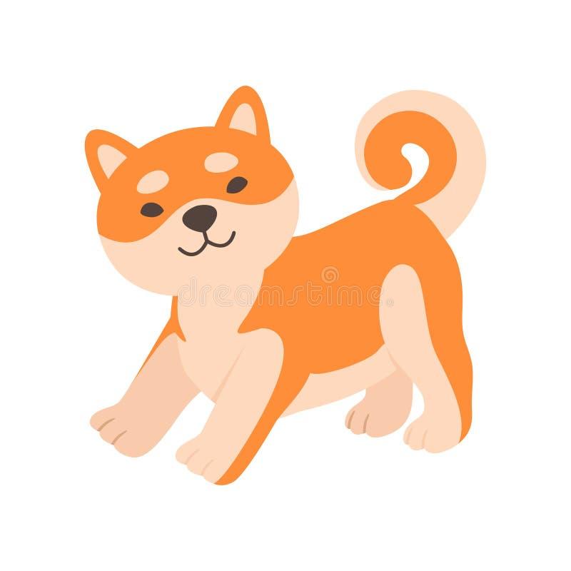 Cão amigável bonito de Shiba Inu, ilustração engraçada do vetor do personagem de banda desenhada do animal de animal de esti ilustração royalty free