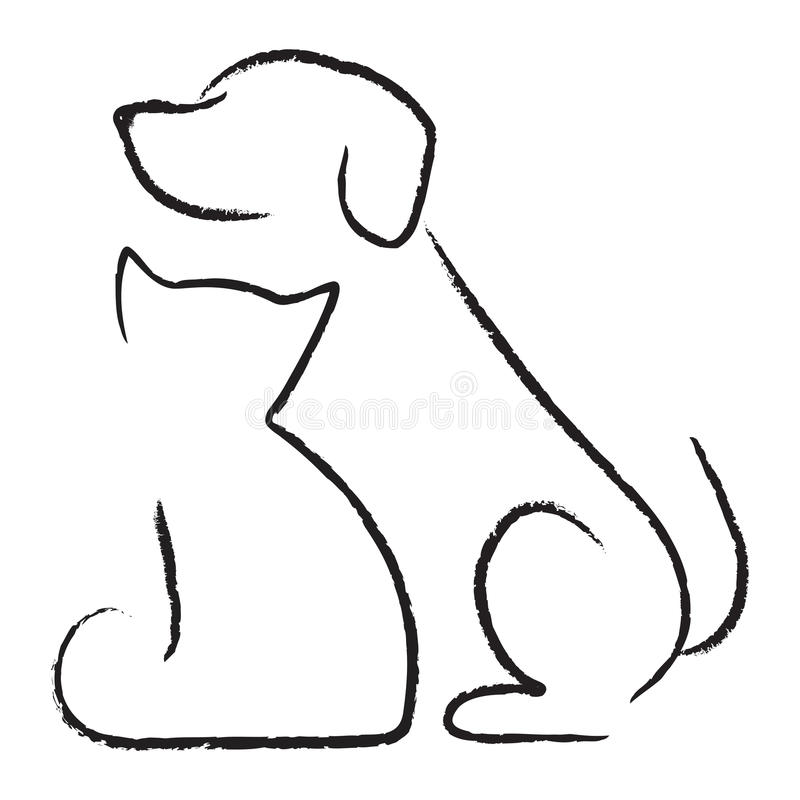 Cão & gato ilustração stock