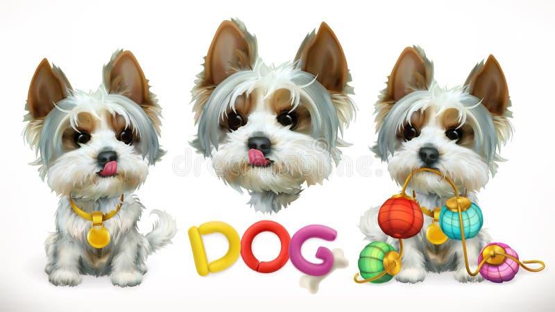 Cão, animal no zodíaco chinês, calendário chinês Engrena o ícone ilustração stock