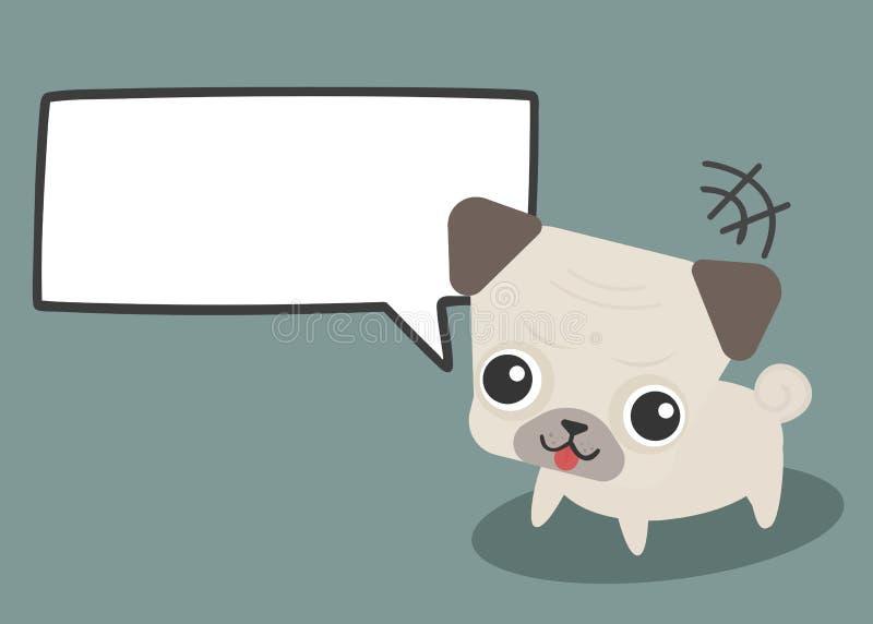 Cão bonito adorável do pug com texto vazio da placa do diálogo do discurso da bolha da nuvem ilustração royalty free