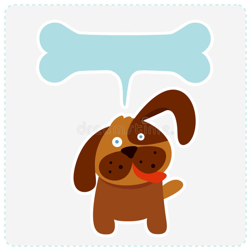 Cão bonito com bolha do discurso do osso ilustração royalty free