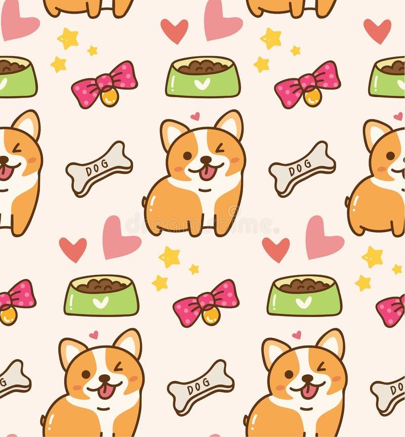 Cão bonito com brinquedos e fundo do kawaii do alimento ilustração stock