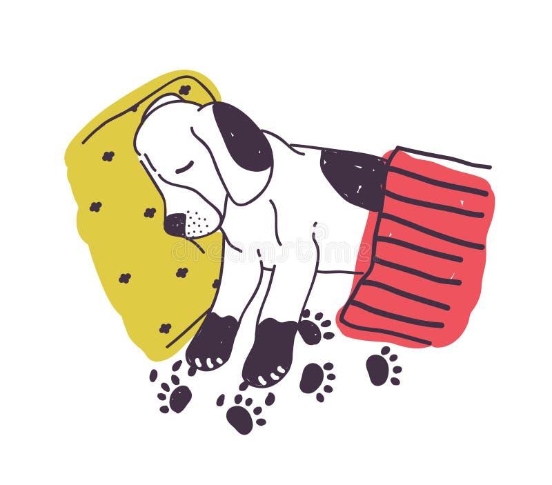 Cão bonito com patas sujas que dorme na cama sob a cobertura Cachorrinho impertinente amusing isolado no fundo branco Hábito mau  ilustração royalty free
