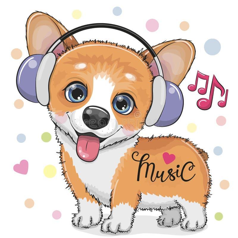 Cão bonito do Corgi dos desenhos animados com fones de ouvido ilustração royalty free